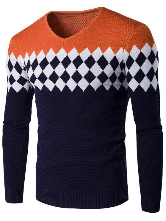 sale V-Neck Rhombus Pattern Color Block Sweater - ORANGE 2XL