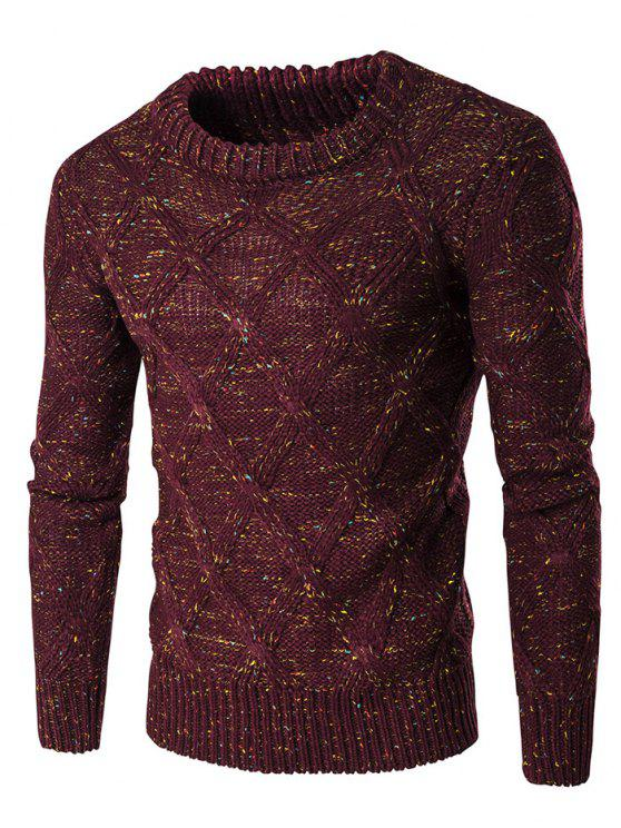 طاقم الرقبة الملونة الملونة تصميم سترة طويلة الأكمام - نبيذ أحمر M