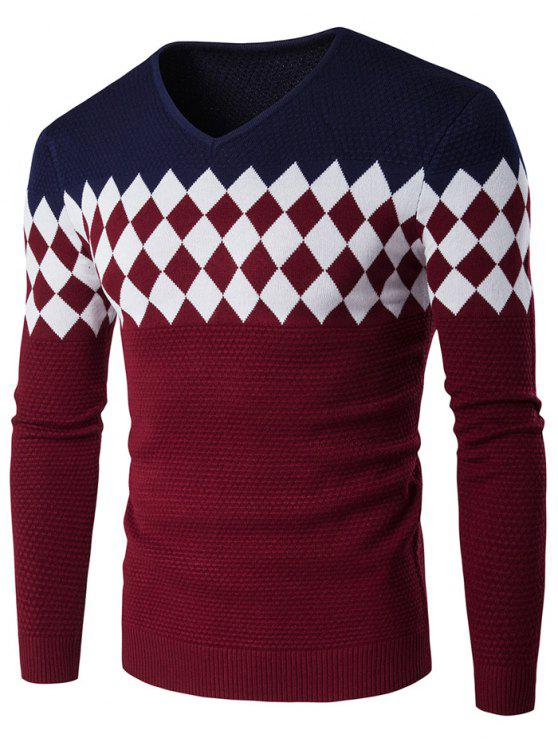 chic V-Neck Rhombus Pattern Color Block Sweater - CADETBLUE 2XL