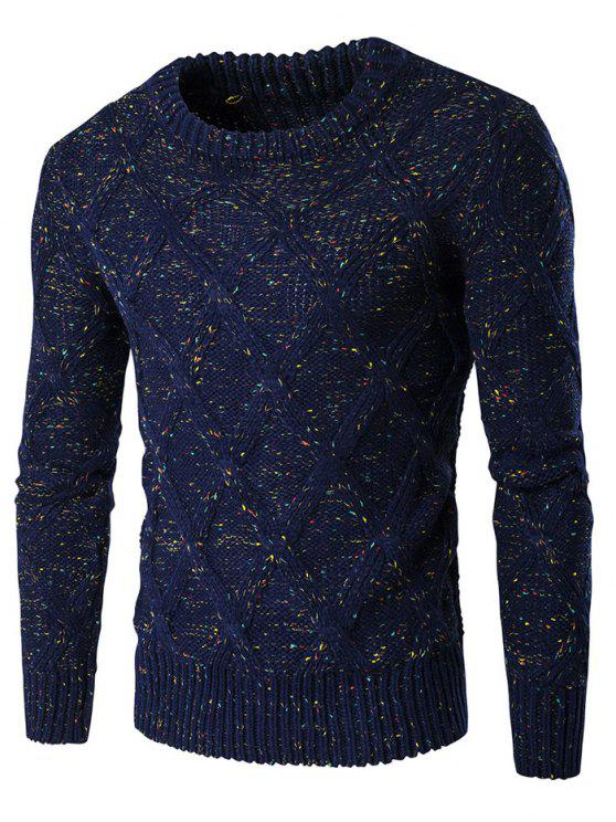 unique Crew Neck Colorful Kink Design Long Sleeve Sweater - CADETBLUE L