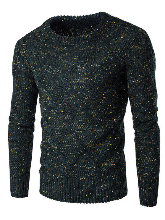 best Crew Neck Colorful Kink Design Long Sleeve Sweater - BLACKISH GREEN L