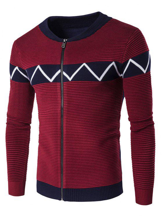 latest Crew Neck Waviness Knitting Splicing Zip-Up Cardigan - WINE RED XL