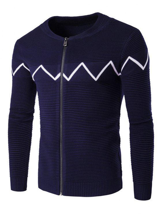 Rundhalsausschnitt Welle Gespleißter Cardigan mit Reißverschluss - Kadettenblau M