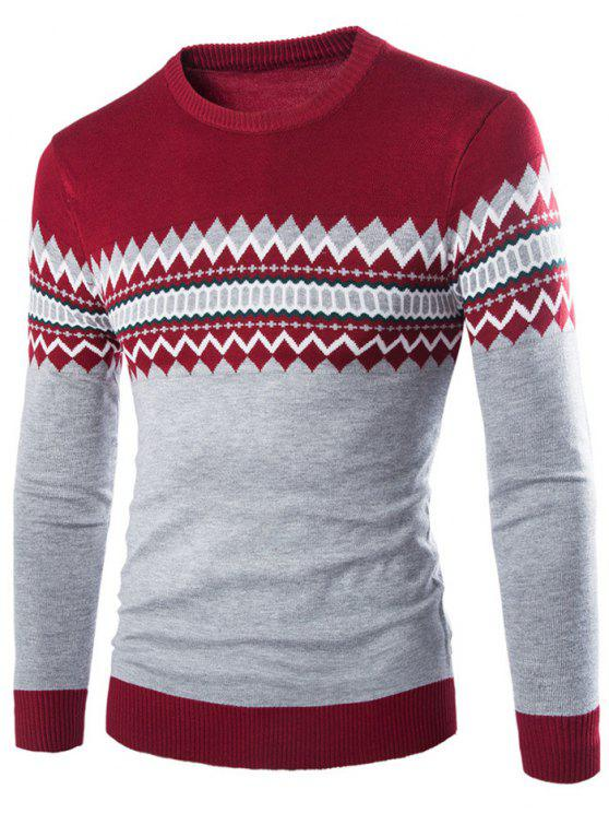 outfits Crew Neck Color Block Geometric Knitwear - WINE RED XL