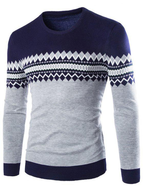 outfits Crew Neck Color Block Geometric Knitwear - CADETBLUE 2XL