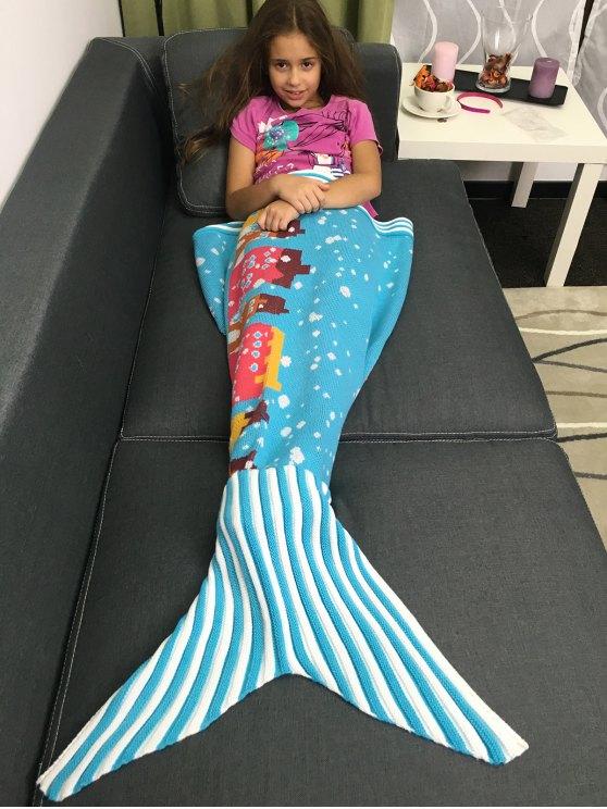 سوبر لينة الحياكة الكرتون بناء نمط حورية البحر بطانية - أزرق سماوي M