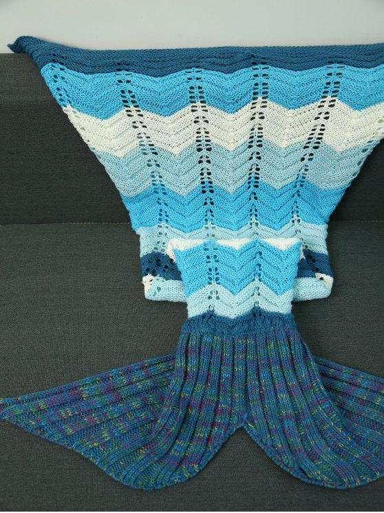 محبوك موجة مخطط تصميم مخرمة حورية البحر بطانية - مزيج ملون