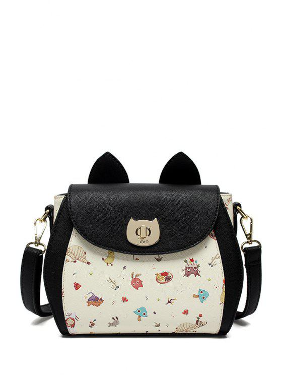 shops Cartoon Printed Color Block Crossbody Bag - BLACK