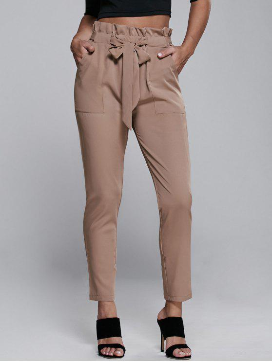 ladies High Waisted Belted Narrow Feet Pants - KHAKI L