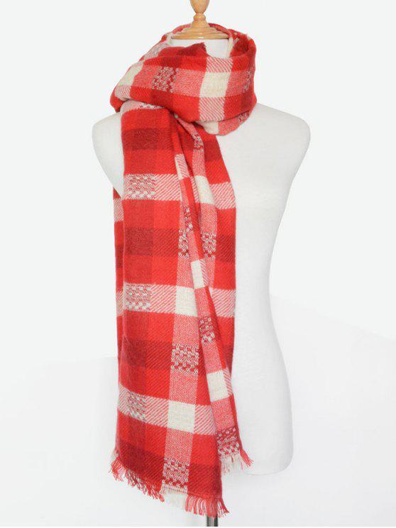 De la tela escocesa de la bufanda con flecos - Rojo