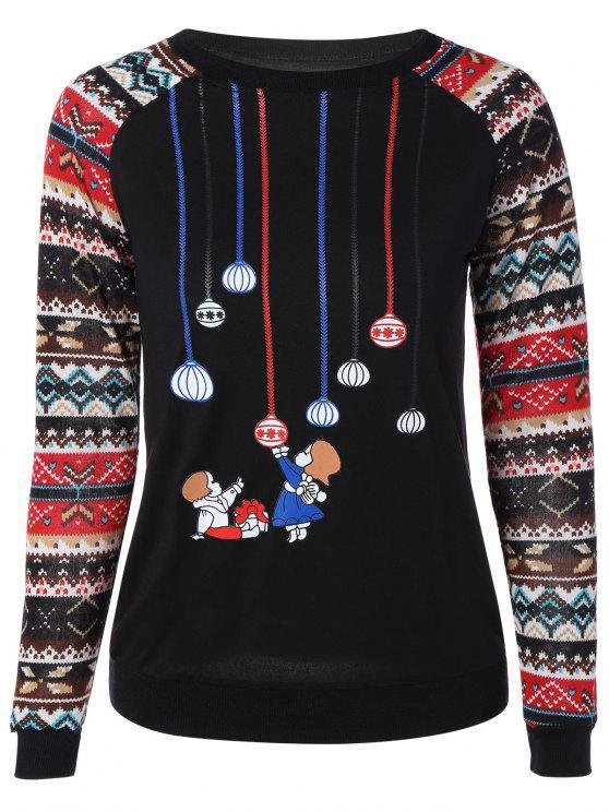 Drucken Spliced Sweatshirt - Schwarz M