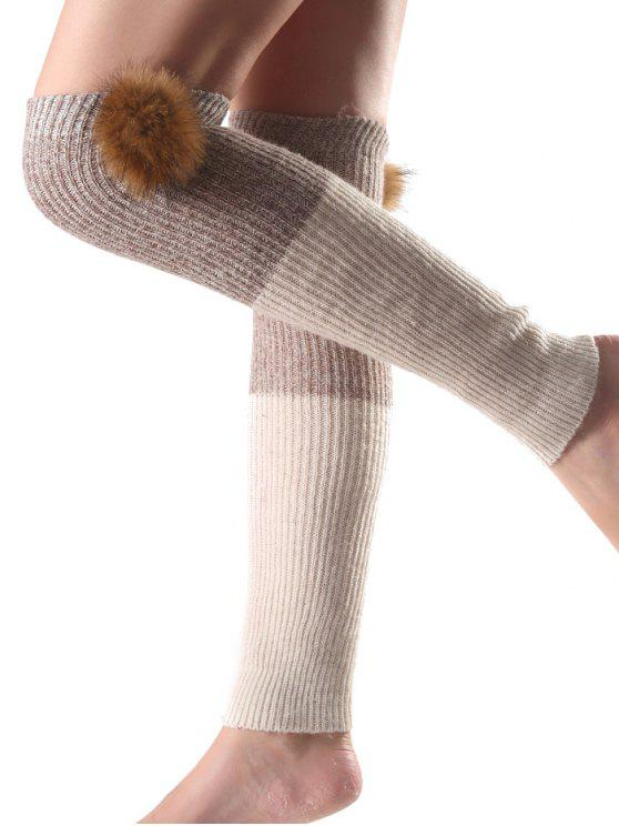 fashion Faux Mink Hair Knit Leg Warmers - OFF-WHITE
