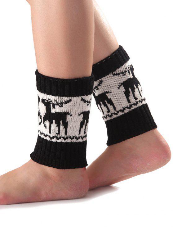 womens Christmas Deer Knit Boot Cuffs - BLACK