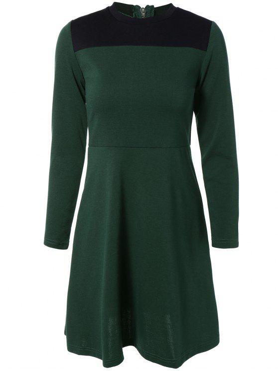 online Contrast Yoke Long Sleeve Dress - GREEN S