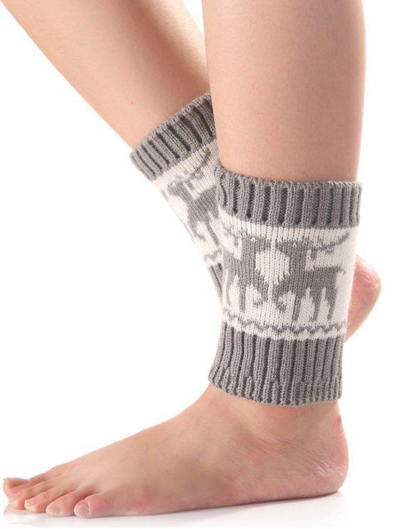 ladies Christmas Deer Knit Boot Cuffs - LIGHT GRAY