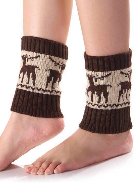 Weihnachten Deer Knit Stiefel Cuffs - Kafee