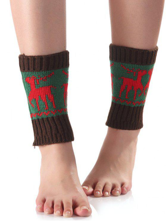 Weihnachten Deer Knit Stiefel Cuffs - Grün