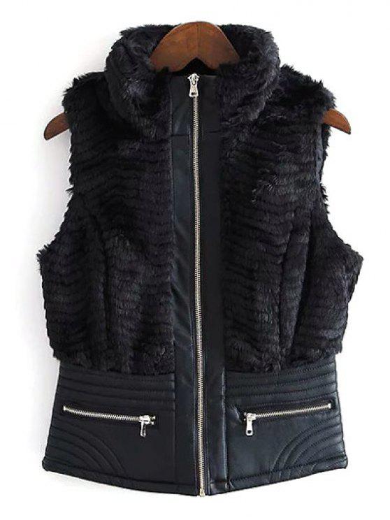 women PU Leather Spliced Faux Fur Waistcoat - BLACK S