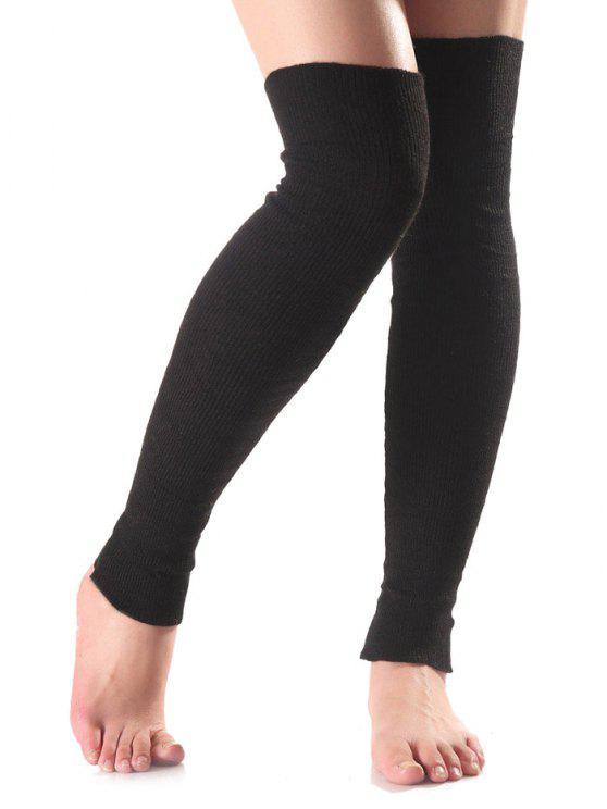 unique Long Knit Leg Warmers - BLACK