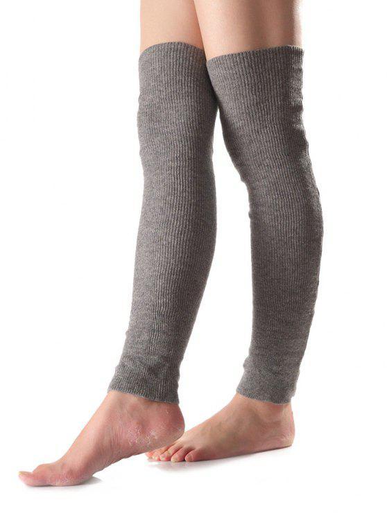 Largos de punto calentadores de la pierna - Gris