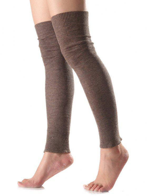 womens Long Knit Leg Warmers - DARK KHAKI