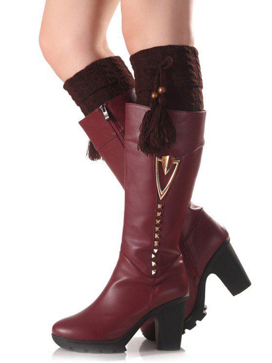 ladies Tassel Pendant Flanging Knit Boot Cuffs - COFFEE