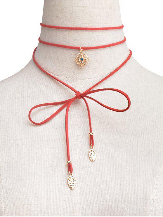 Rhinestone de la flor del abrigo de Gargantilla - Rojo