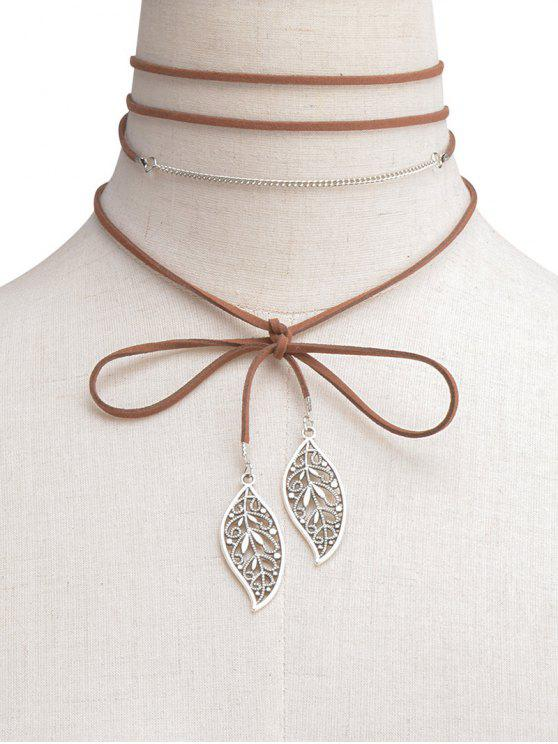 Hollowed Feuille Wrap Choker - Brun