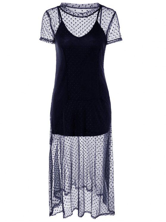 trendy Dotted Two Piece Dress - CADETBLUE L