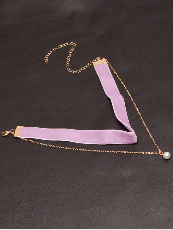 Perlas de imitación en capas de terciopelo Gargantilla - Púrpura