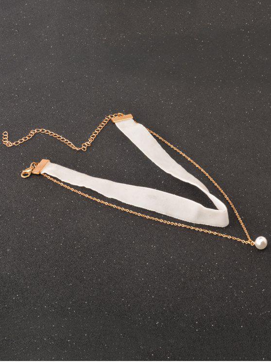 lady Faux Pearl Layered Velvet Choker - WHITE