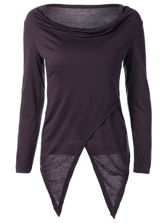Hendidura asimétrica de la camiseta - Púrpura M