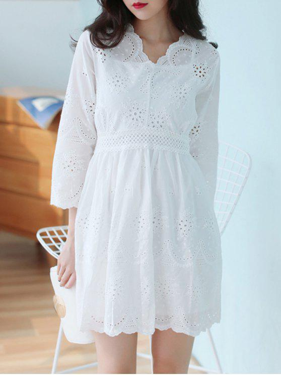 online V Neck Embroidered Dress With Cami Top - WHITE ONE SIZE