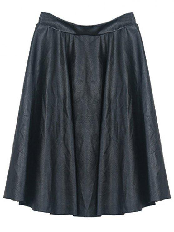 chic A Line PU Leather Skirt - BLACK ONE SIZE