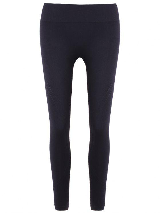 Slim Serrare Vita Nona Leggings - Nero S