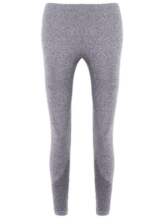 women Slim Tighten Waist Ninth Leggings - GRAY L