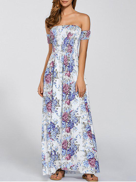 women Vintage Floral Print Slit Off The Shoulder Dress - WHITE ONE SIZE