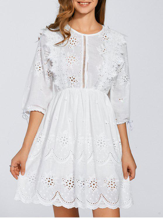 2193e60f3 24% OFF] 2019 Embroidered Eyelet Mini Dress In WHITE   ZAFUL