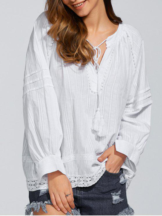 chic Long Sleeve Loose Fitting Blouse - WHITE ONE SIZE