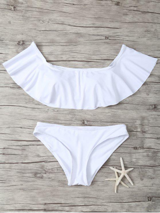 بدلة سباحة عارية الكتفين مزينة بكشكش - أبيض M