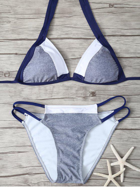womens Stringy Plunge Bikini Set - COLORMIX L