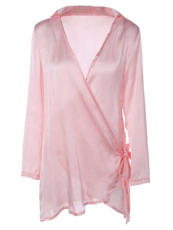 womens Long Sleeve Satin Mini Wrap Dress - PINK M
