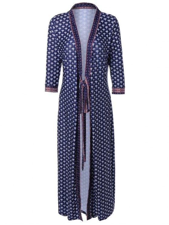 V cuello impreso vestido de kimono - Azul Purpúreo M