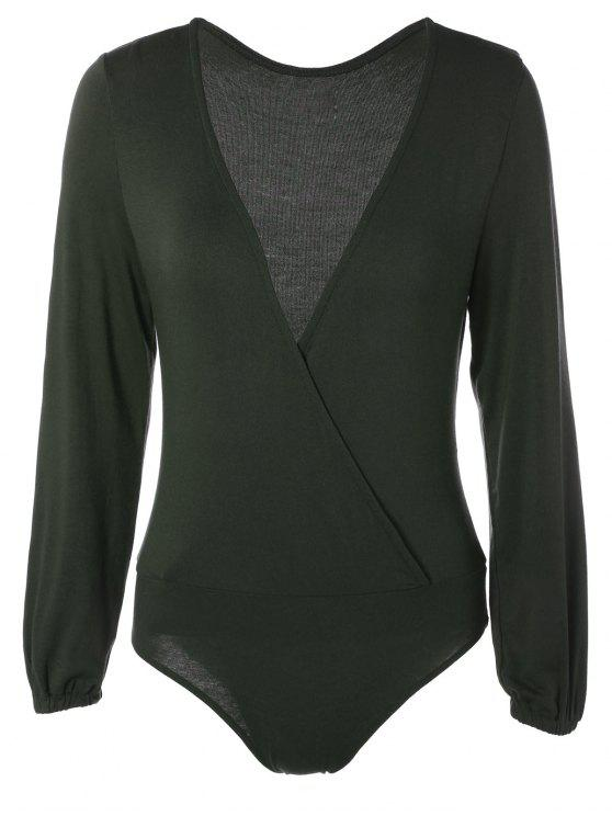 trendy Long Sleeve Plunge Bodysuit - BLACKISH GREEN XL