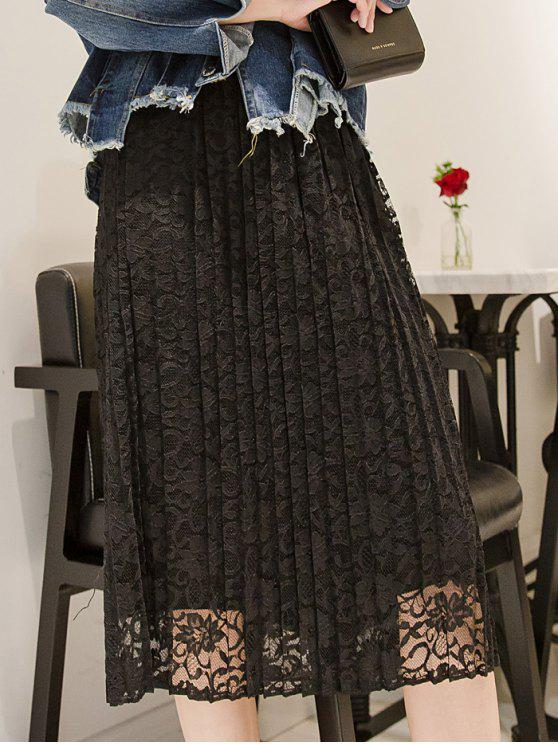 sale Pleated Lace Midi Skirt - BLACK ONE SIZE