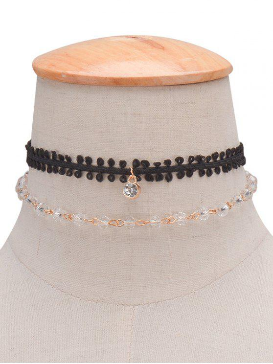 online Layered Rhinestone Braid Choker Necklace - BLACK
