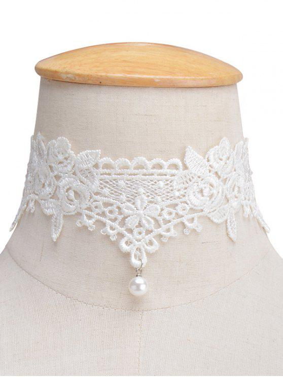 Collar Gargantilla floral cordón de la perla de Faux - Blanco