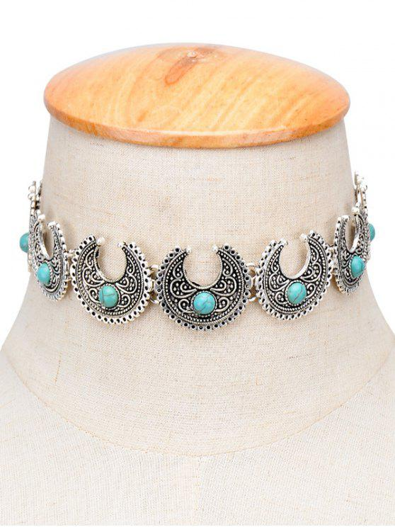 latest Vintage Faux Turquoise Moon Engraved Choker - SILVER
