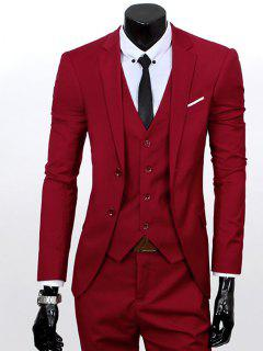 Lapel Single Breasted Three-Piece Suit - Wine Red L