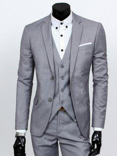 Lapel Single Breasted Three-Piece Suit - Light Gray Xl